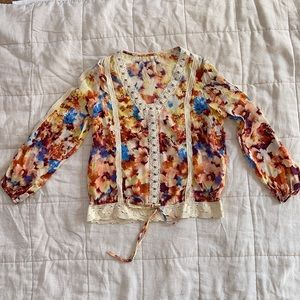 Petticoat Alley Floral Silk Blouse with Crochet Details size S